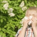 Boy sneezing with allergies